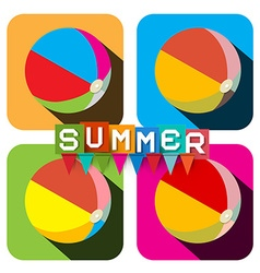 Beach Ball Set Flat Design Colorful Inflatable vector image