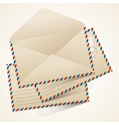 Stack of old vintage envelopes vector image