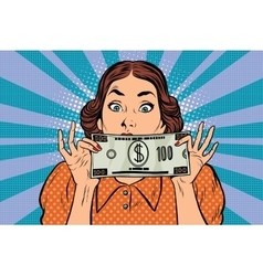 Surprised beautiful retro woman banknote hundred vector