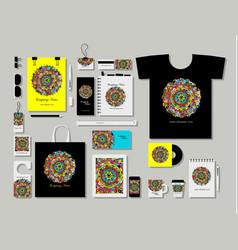 corporate flat mock-up template floral mandala vector image