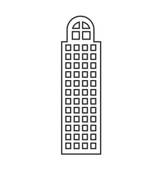 Silhouette of building skyscraper with cusp window vector