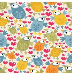 Seamless pattern with cute birds and hearts vector image