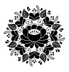 russian inspired folk art pattern - black vector image