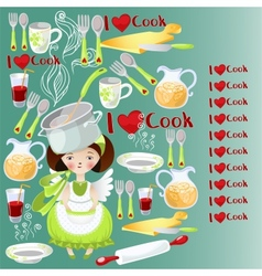 Pattern with the little girl and kitchen tools vector
