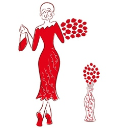 Lady in long red gown with red roses goes away vector