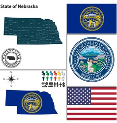Map of nebraska with seal vector