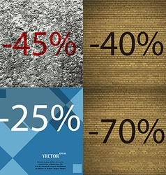 40 25 70 icon set of percent discount on abstract vector
