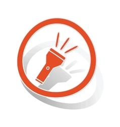 Flashlight sign sticker orange vector