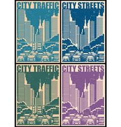 City streets retro posters vector