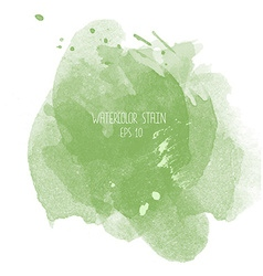 Green watercolor stain on white background vector