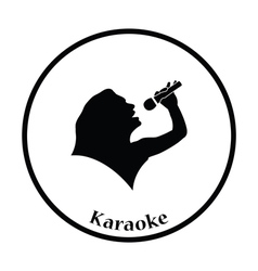 Karaoke womans silhouette icon vector