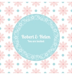 Wedding card template with floral frame vector