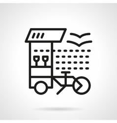 Bar on wheels simple line icon vector image vector image