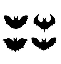 bats black set isolated on white background vector image