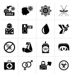 Black zika virus pandemic icons vector