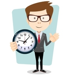 Businessman and clock format vector image vector image