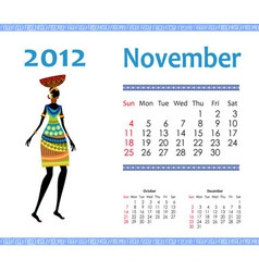 calendar for 2012 with an african woman vector image vector image