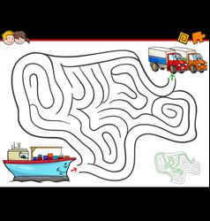 Cartoon maze activity with ship and trucks vector