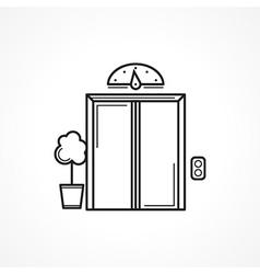 Closed elevator door black line icon vector image