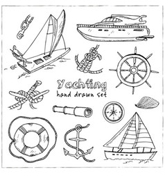 collection of yachting doodle icons vector image vector image