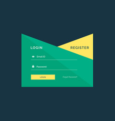 Creative login template design in geometric style vector