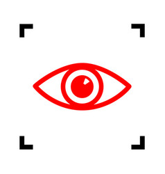 Eye sign red icon inside vector