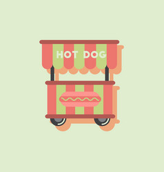 Fast food hot dog cart and street hot dog cart in vector