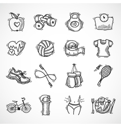 Fitness sketch icons set vector image