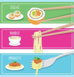Food sushi noodle spaghetti cartoon vector