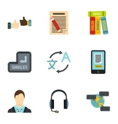 Foreign language icons set flat style vector