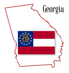 georgia state map and seal vector image vector image