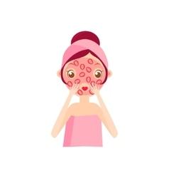 Girl doing fruit mask vector