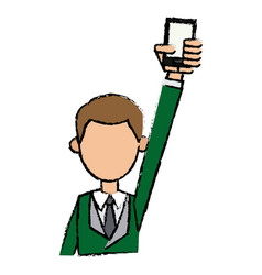 Guy young holding smartphone with hand up vector