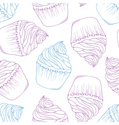 Hand drawn cupcake seamless pattern outline doodle vector