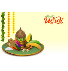 Happy ugadi template greeting card set holiday vector