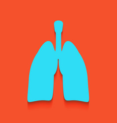 Human anatomy lungs sign whitish icon on vector