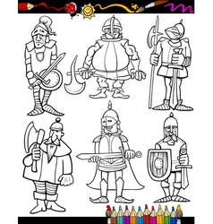 Knights cartoon set for coloring book vector