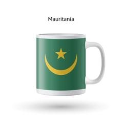 Mauritania flag souvenir mug on white background vector
