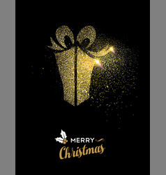 merry christmas gold glitter gift box holiday card vector image vector image