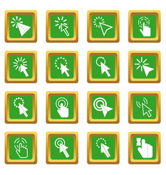 Mouse pointer icons set green vector