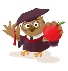 Owl teacher holding red apple vector image vector image