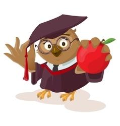 Owl teacher holding red apple vector image vector image