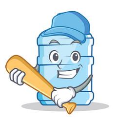 Playing baseball gallon character cartoon style vector