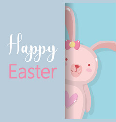 Rabbit famale to happy easter holiday vector