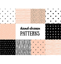 Set of abstract seamless patterns in pink white vector