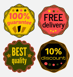 set of badges with ribbons vector image vector image
