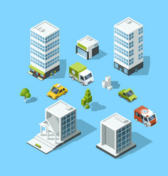 Set of isometric cartoon-style buildings trees vector