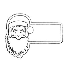 silhouette blurred banner with face cartoon santa vector image vector image