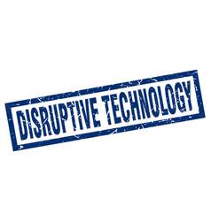 Square grunge blue disruptive technology stamp vector