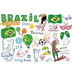 Summer in brazil doodles collection vector